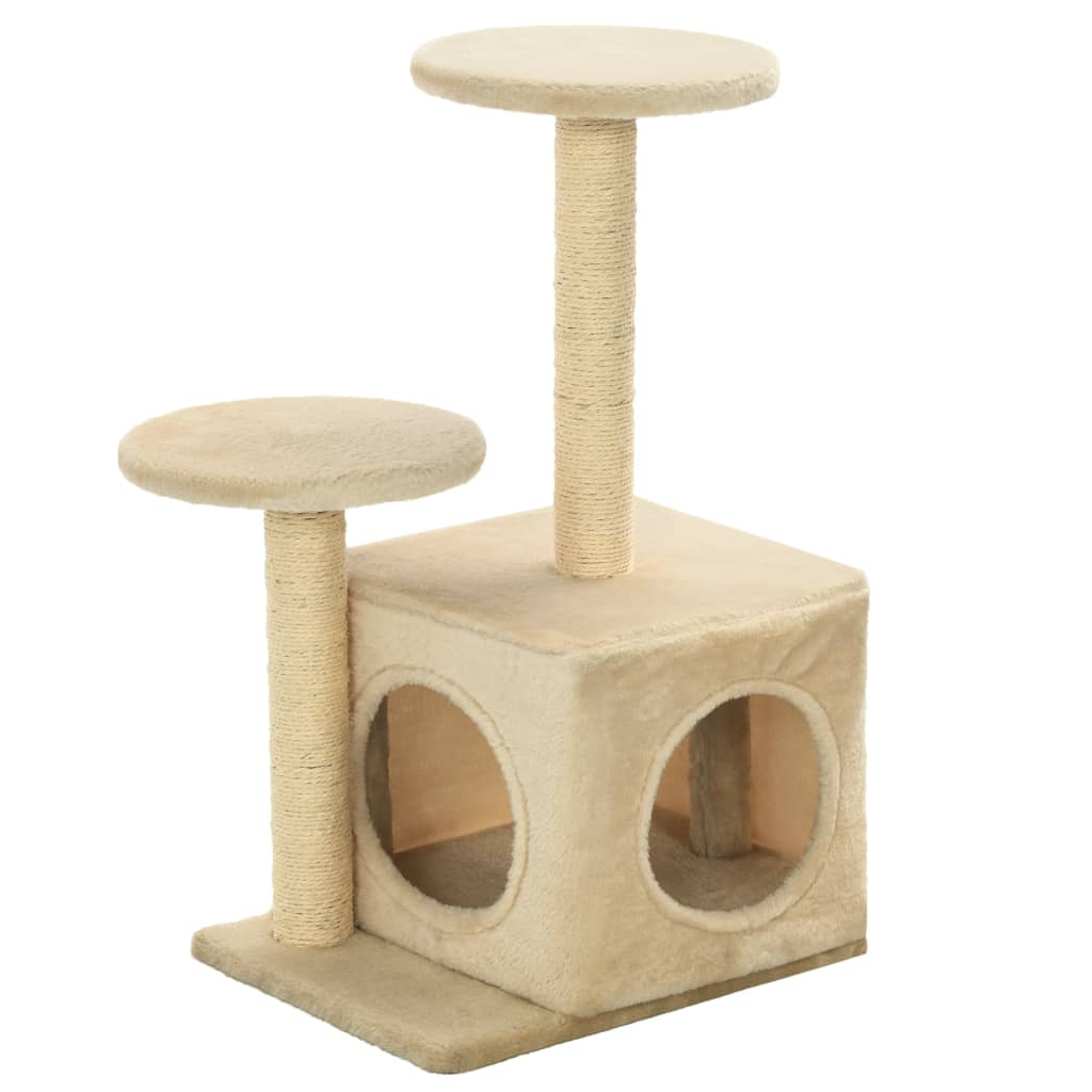 Cat-Tree-with-Sisal-Scratching-Posts-60-cm-Beige-Side-View