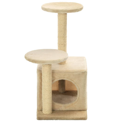 Image of Cat-Tree-with-Sisal-Scratching-Posts-60-cm-Beige-Sisal-Pole-Cover