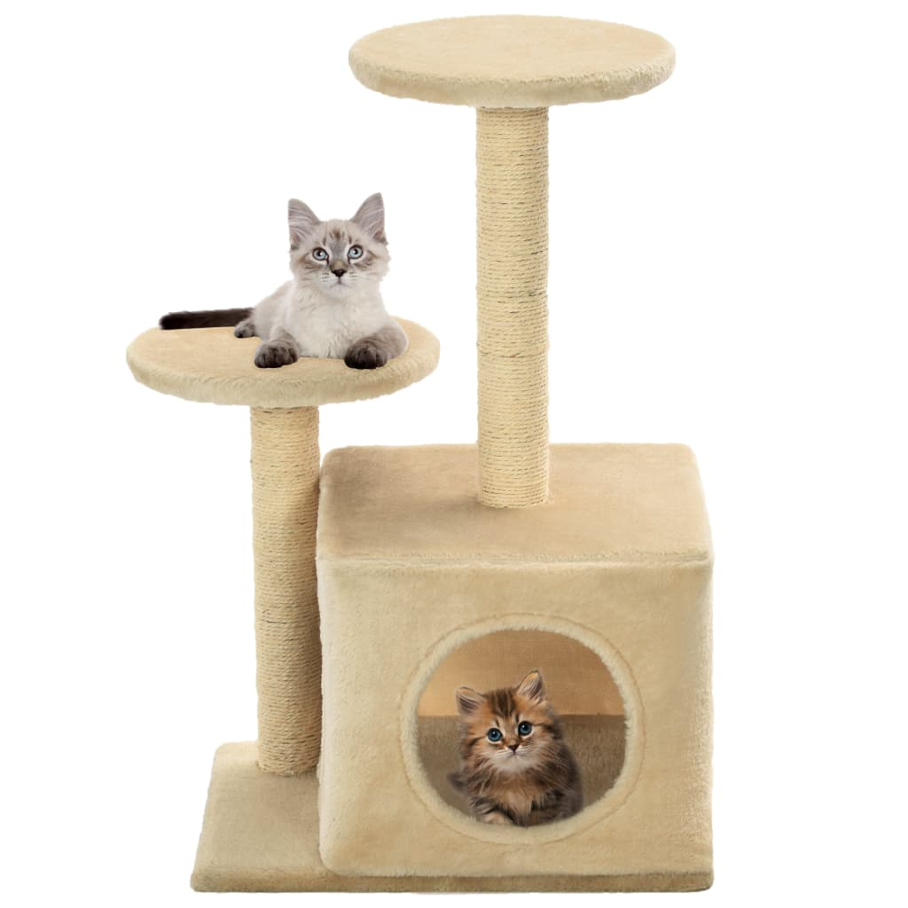 Cat-Tree-with-Sisal-Scratching-Posts-60-cm-Beige-with-Cats