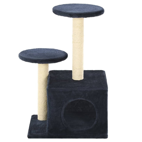 Image of Cat-Tree-with-Sisal-Scratching-Posts-60-cm-Dark-Blue-Front-View