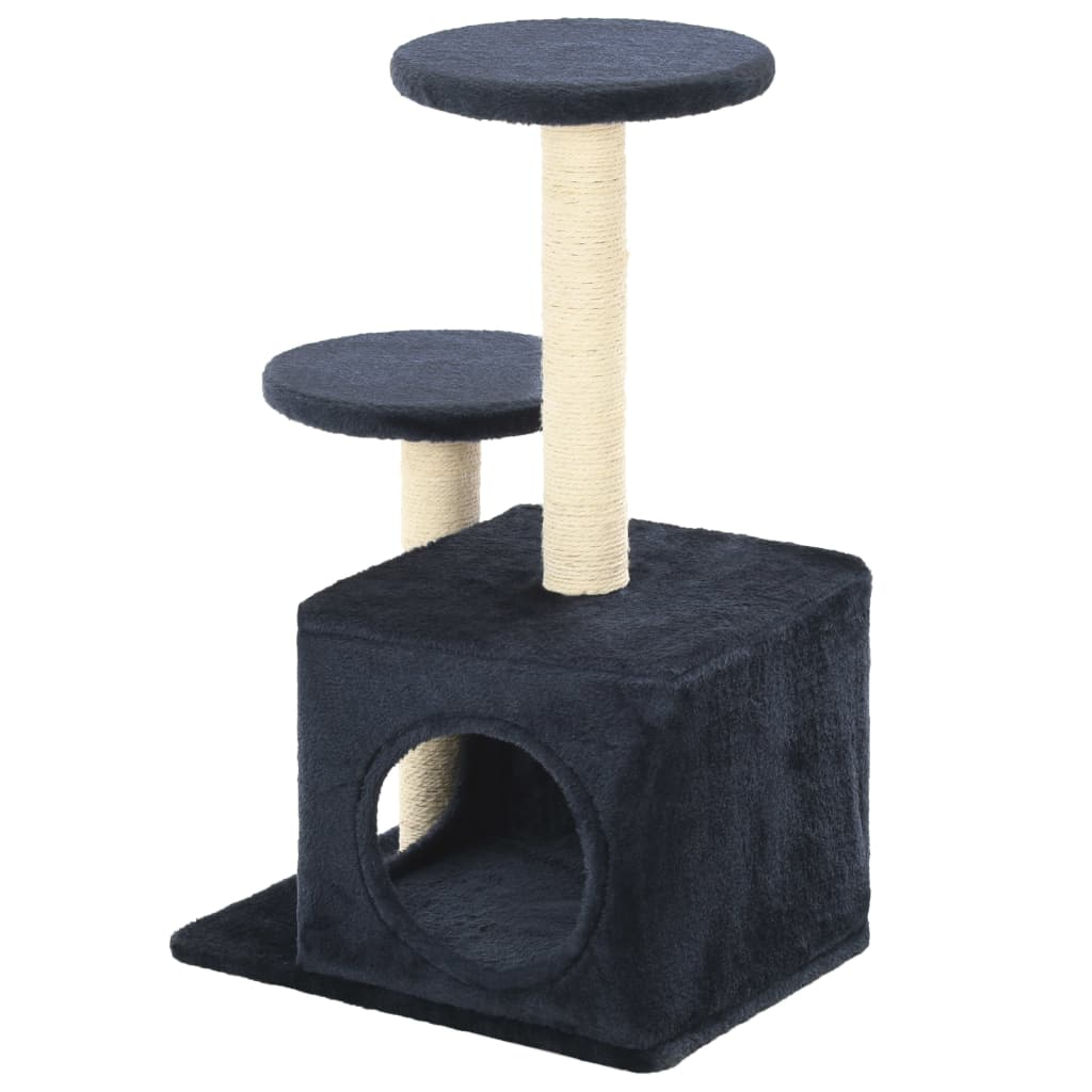 Cat-Tree-with-Sisal-Scratching-Posts-60-cm-Dark-Blue-Prints-Back-View