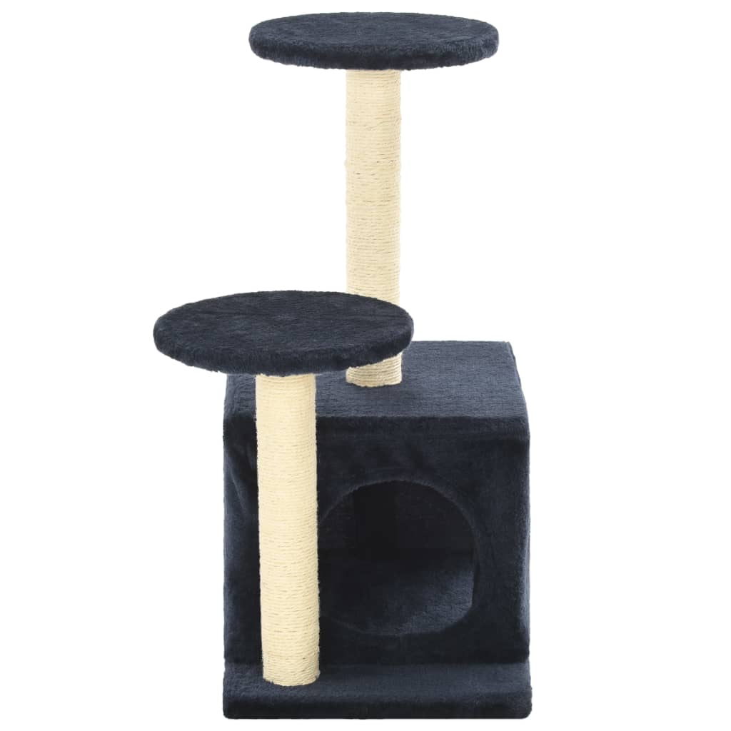 Cat-Tree-with-Sisal-Scratching-Posts-60-cm-Dark-Blue-Prints-Sisal-Pole-Cover