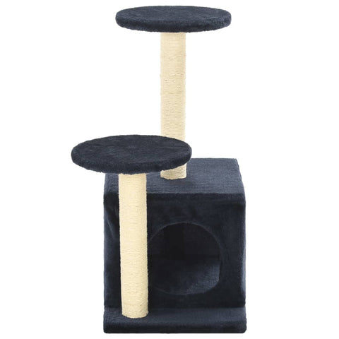 Image of Cat-Tree-with-Sisal-Scratching-Posts-60-cm-Dark-Blue-Prints-Sisal-Pole-Cover