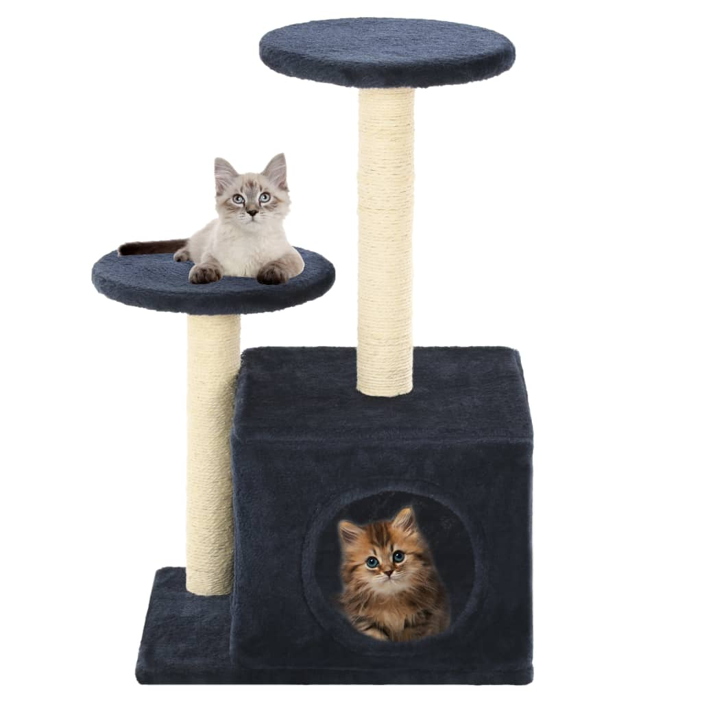 Cat-Tree-with-Sisal-Scratching-Posts-60-cm-Dark-Blue-Prints-with-Cats