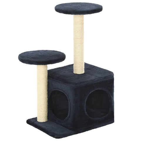 Image of Cat-Tree-with-Sisal-Scratching-Posts-60-cm-Dark-Blue-Side-View