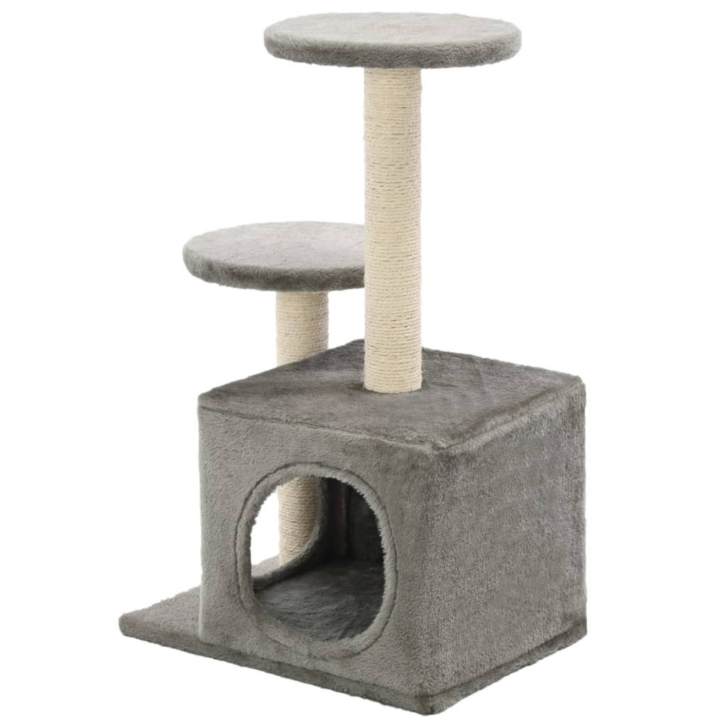 Cat-Tree-with-Sisal-Scratching-Posts-60-cm-Grey-Back-View