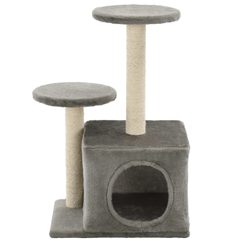 Cat-Tree-with-Sisal-Scratching-Posts-60-cm-Grey-Front-View