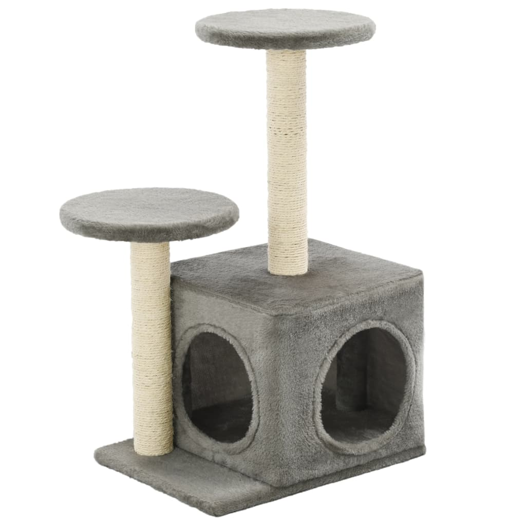 Cat-Tree-with-Sisal-Scratching-Posts-60-cm-Grey-Side-View
