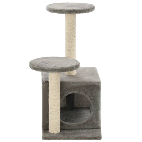 Image of Cat-Tree-with-Sisal-Scratching-Posts-60-cm-Grey-Sisal-Pole-Cover