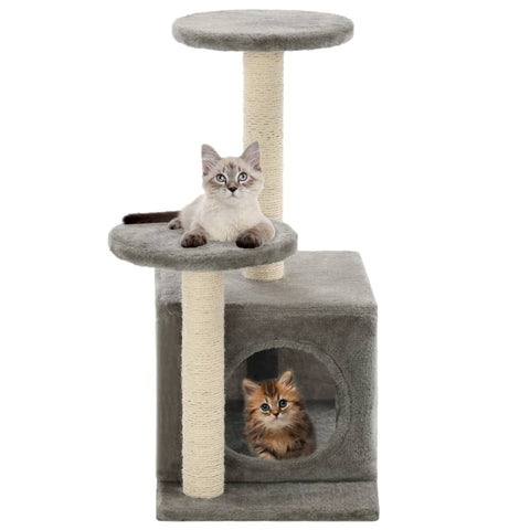 Image of Cat-Tree-with-Sisal-Scratching-Posts-60-cm-Grey-with-Cats