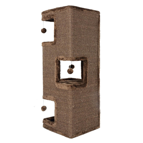 Image of 4-Level Cat Tunnel House Scratcher Post Pet Climbing 36 x 36 x 101cm