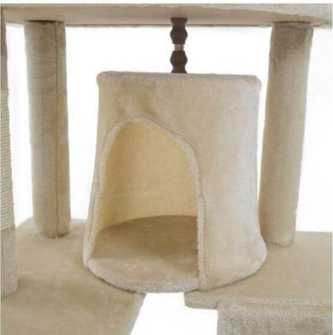 Image of Cat Tree Scratching Post Gym Toy House Acacia 193 x 61 x 69cm Beige Bed Cube
