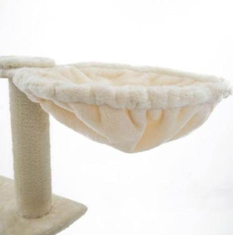 Image of Cat Tree Scratching Post Gym Toy House Acacia 193 x 61 x 69cm Beige Cradle