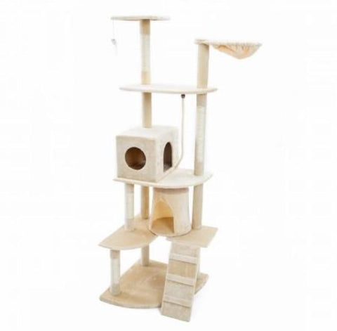 Image of Cat Tree Scratching Post Gym Toy House Acacia 193 x 61 x 69cm Beige