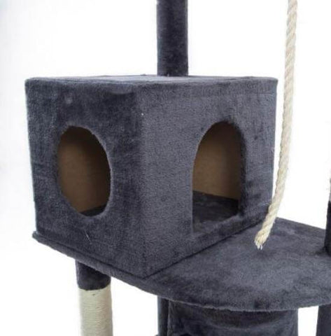 Image of Cat Tree Scratching Post Gym Toy House Acacia 193 x 61 x 69cm Grey Bed Cube Box