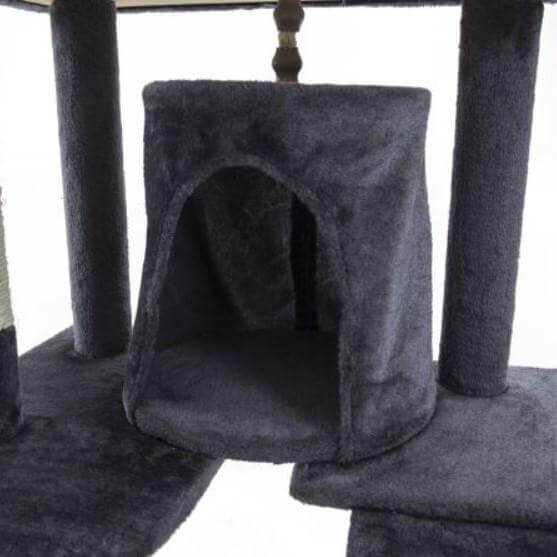 Cat Tree Scratching Post Gym Toy House Acacia 193 x 61 x 69cm Grey Bed Cube