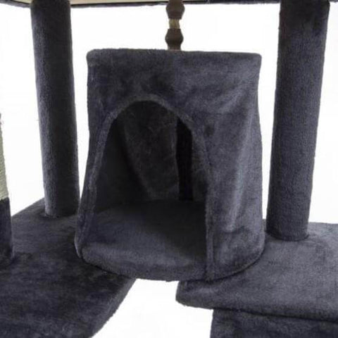 Image of Cat Tree Scratching Post Gym Toy House Acacia 193 x 61 x 69cm Grey Bed Cube