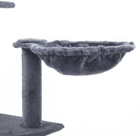 Image of Cat Tree Scratching Post Gym Toy House Acacia 193 x 61 x 69cm Grey Cradle