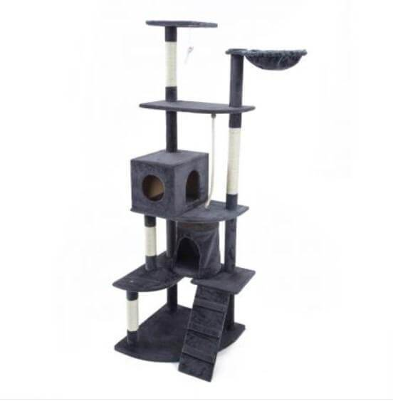 Cat Tree Scratching Post Gym Toy House Acacia 193 x 61 x 69cm Grey