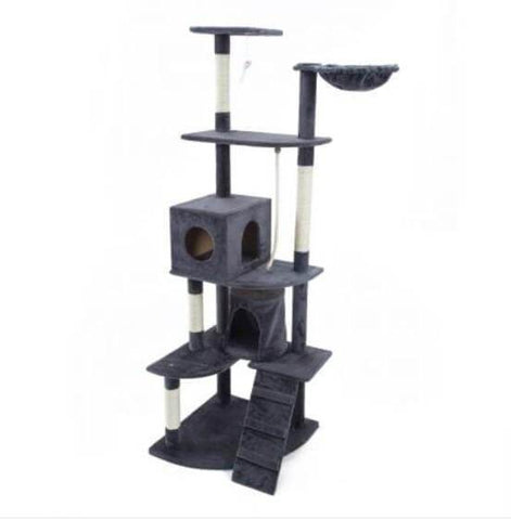 Image of Cat Tree Scratching Post Gym Toy House Acacia 193 x 61 x 69cm Grey