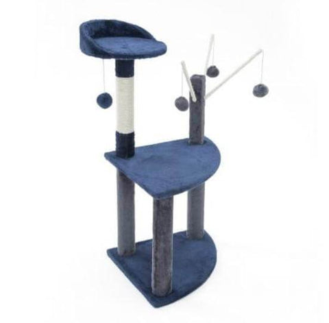 Image of Cat Tree Scratching Post Gym Toy House Luna 96 x 45 x 45cm Blue