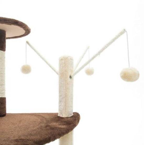 Image of Cat Tree Scratching Post Gym Toy House Luna 96 x 45 x 45cm Brown Extensive Play Center