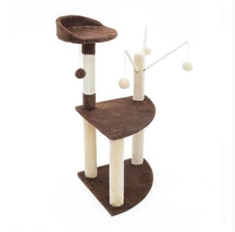 Image of Cat Tree Scratching Post Gym Toy House Luna 96 x 45 x 45cm Brown