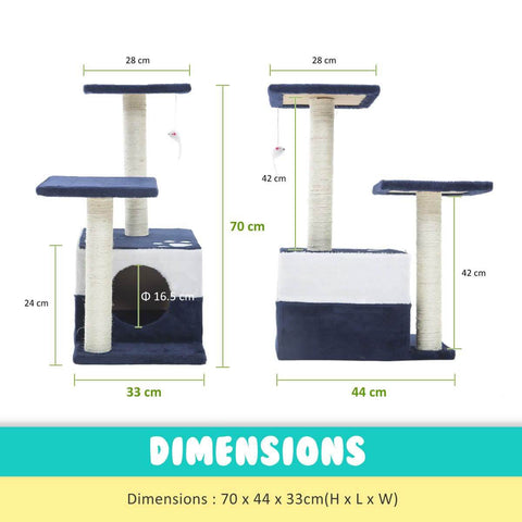Image of Cat Tree Scratching Post Gym Toy House Mono 70 x 45 x 33cm Blue Measurement and Dimensions