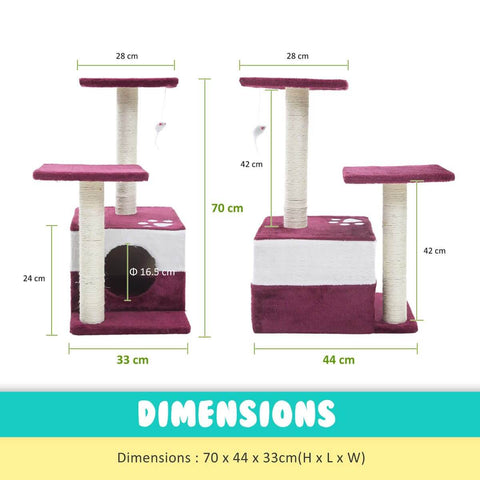 Image of Cat Tree Scratching Post Gym Toy House Mono 70 x 45 x 33cm Red Measurement and Dimensions