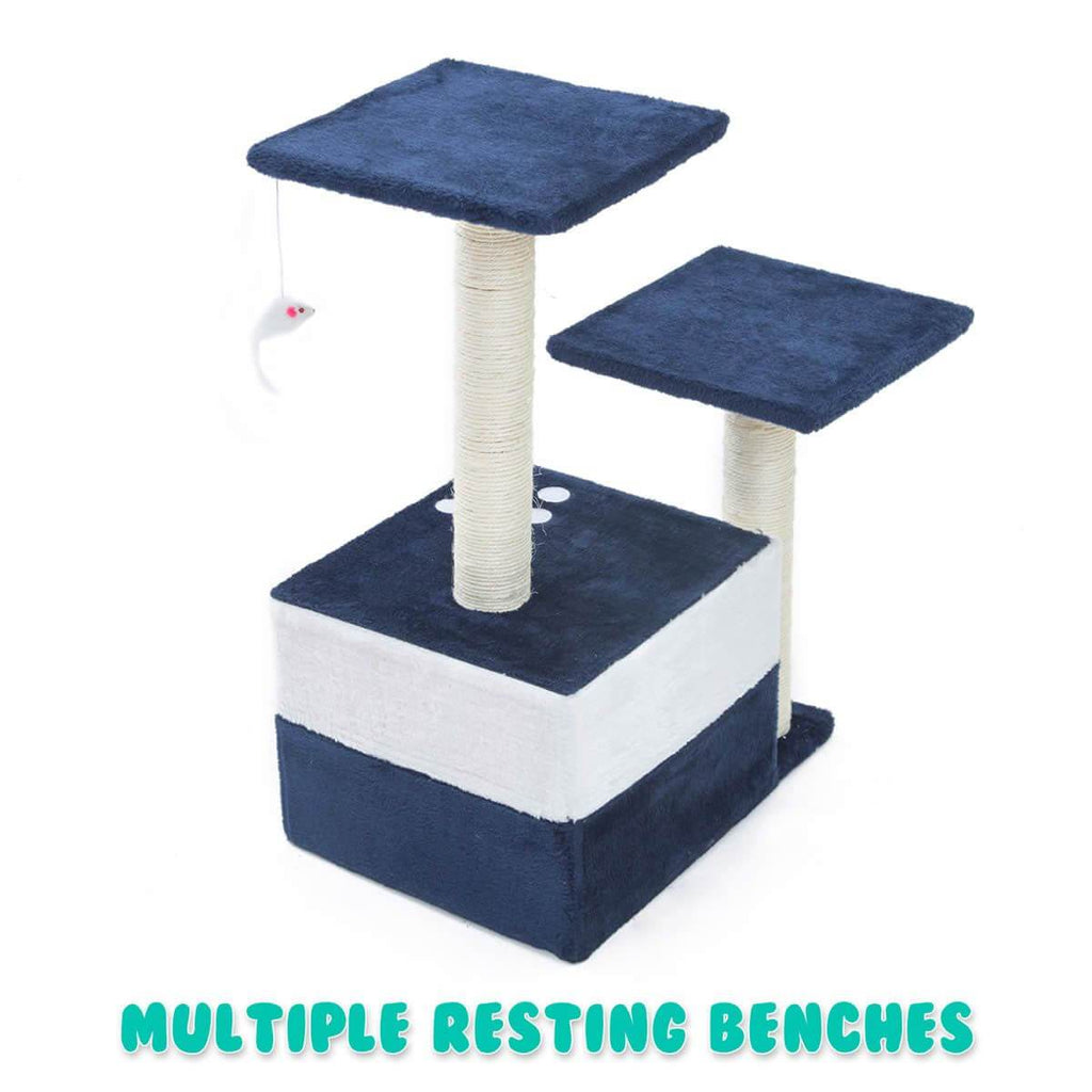 Cat Tree Scratching Post Scratcher Pole Gym Toy House MONO 70cm - Blue Back Multiple Resting Benches