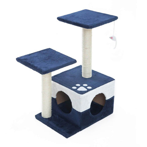 Image of Cat Tree Scratching Post Scratcher Pole Gym Toy House MONO 70cm - Blue
