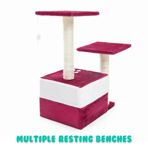 Image of Cat Tree Scratching Post Scratcher Pole Gym Toy House MONO 70cm - Red Back Multiple Resting Benches
