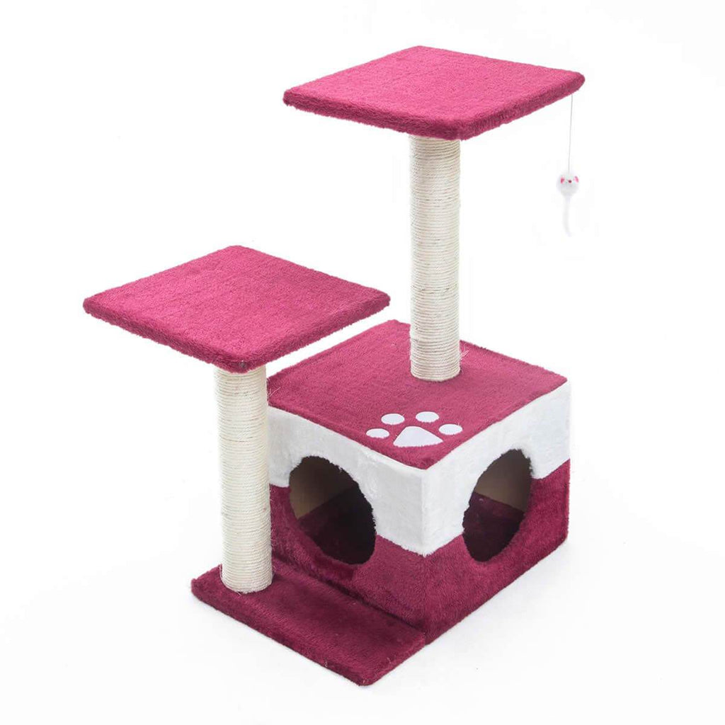 Cat Tree Scratching Post Scratcher Pole Gym Toy House MONO 70cm - Red