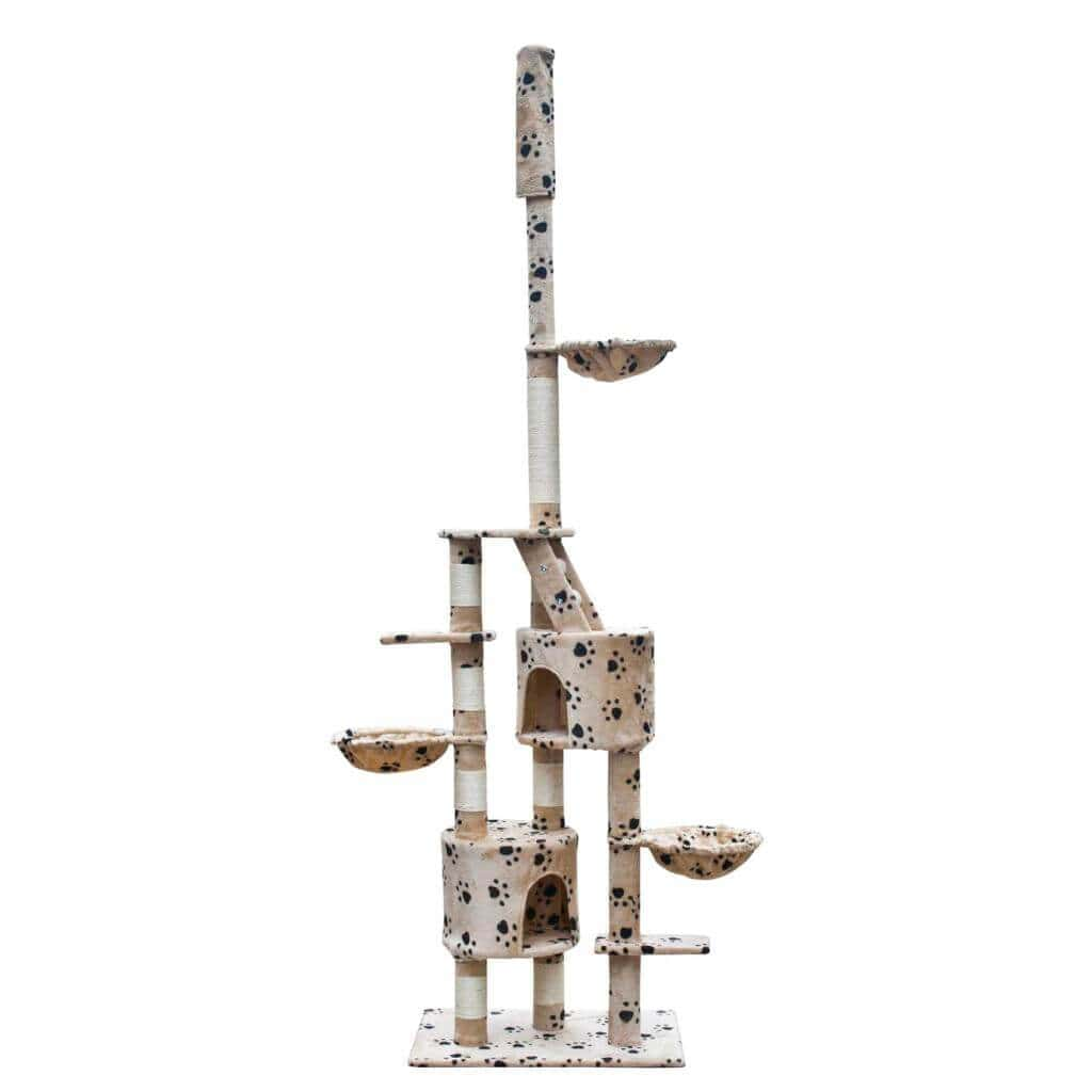Cat Play Tree Cuddles XL 230 - 260 cm Beige with Paw Prints Everyday Pets