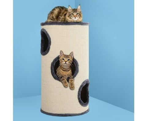 Image of Cat Scratching Board Grey & White 70cm Tall