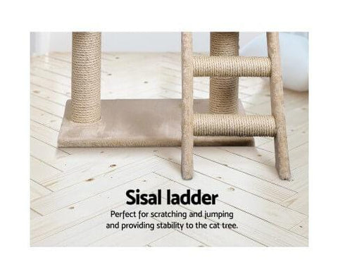 Image of Cat Scratching Post with Natural Sisal Step Ladder Beige