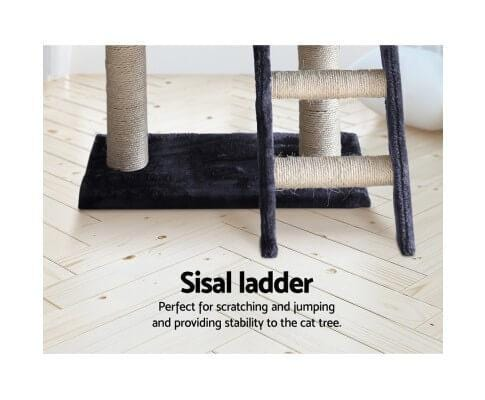 Cat Scratching Post with Natural Sisal Step Ladder Dark Grey