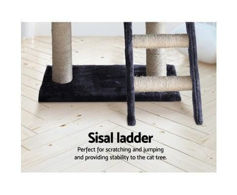Image of Cat Scratching Post with Natural Sisal Step Ladder Dark Grey