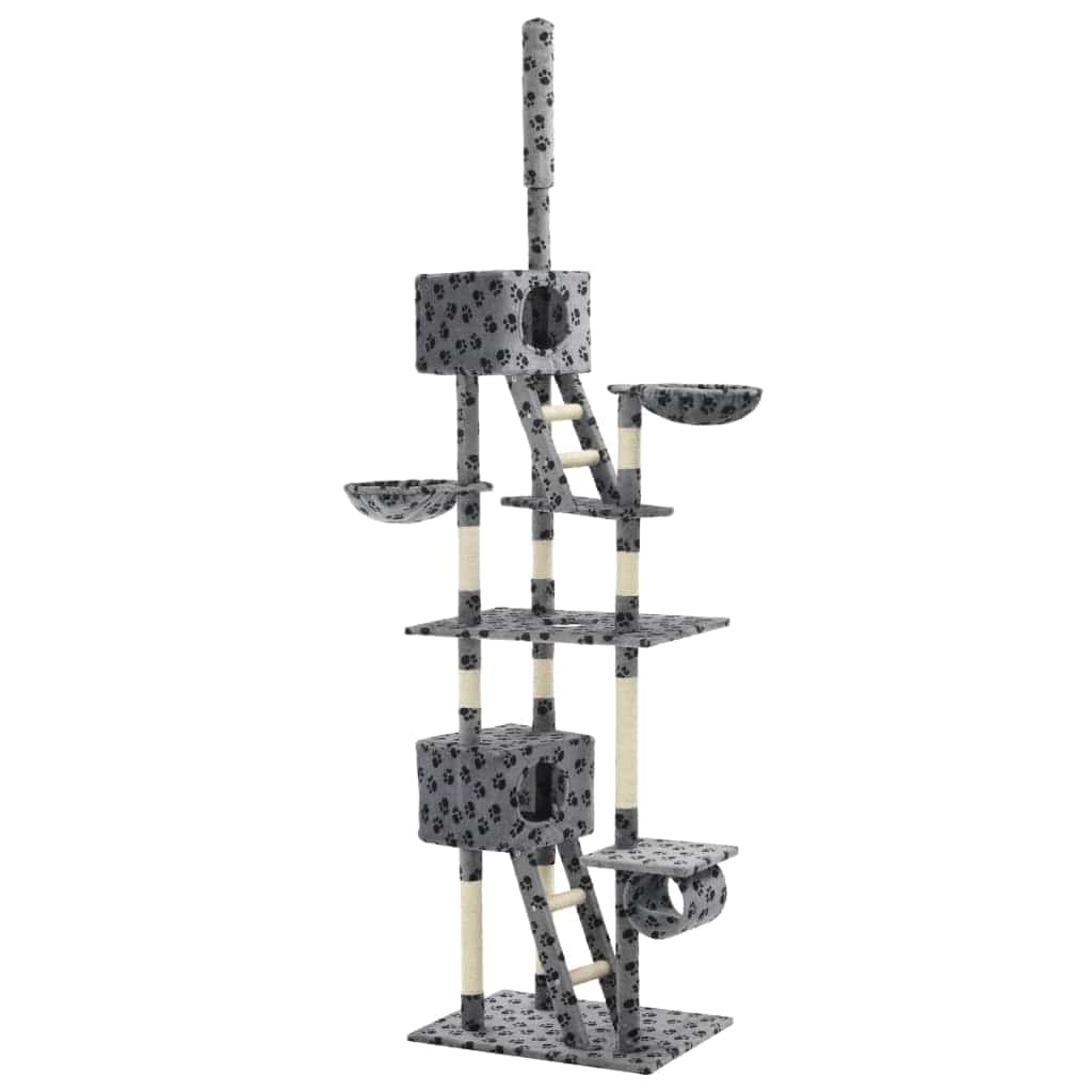 Cat Tree with Sisal Scratching Posts 230-260 cm Grey Paw Prints Everyday Pets