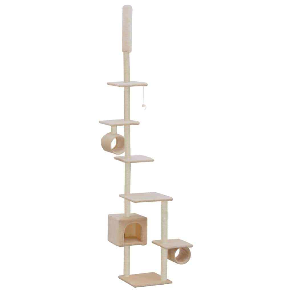 Cat Tree with Sisal Scratching Posts 260 cm Beige Feature Packed Cat Tree Playhouse Everyday Pets