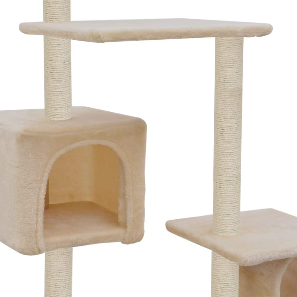 Cat Tree with Sisal Scratching Posts 260 cm Beige Cosy House for Naps Everyday Pets
