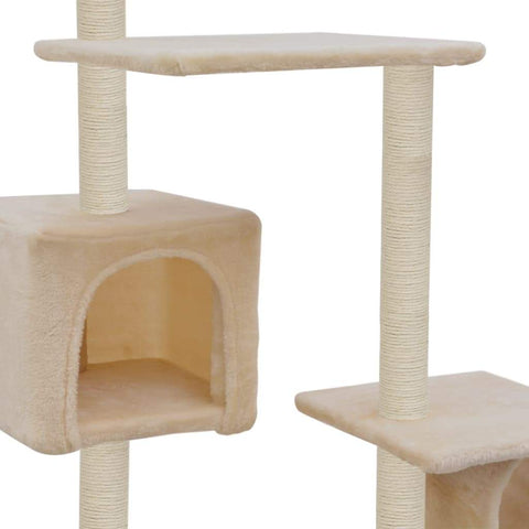 Image of Cat Tree with Sisal Scratching Posts 260 cm Beige Cosy House for Naps Everyday Pets