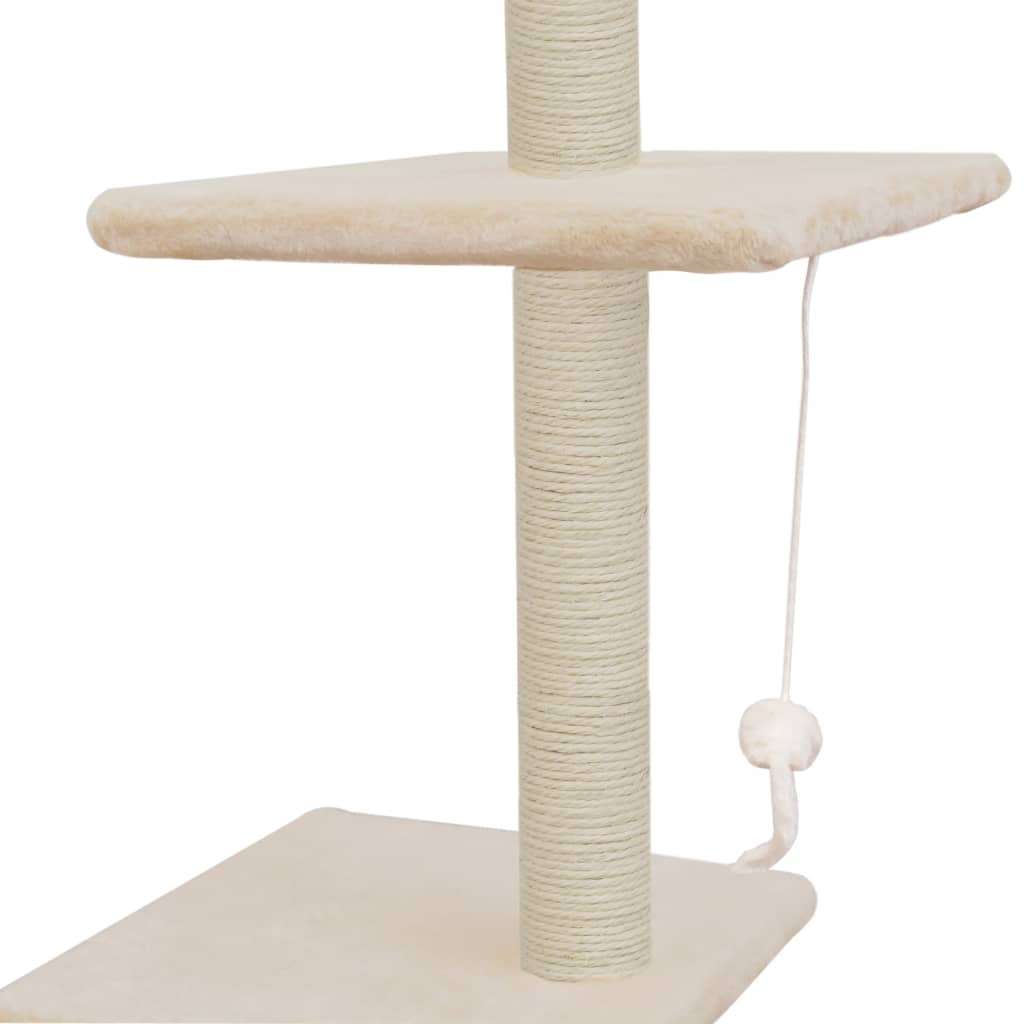 Cat Tree with Sisal Scratching Posts 260 cm Beige Dangling Toy for Playtime Everyday Pets