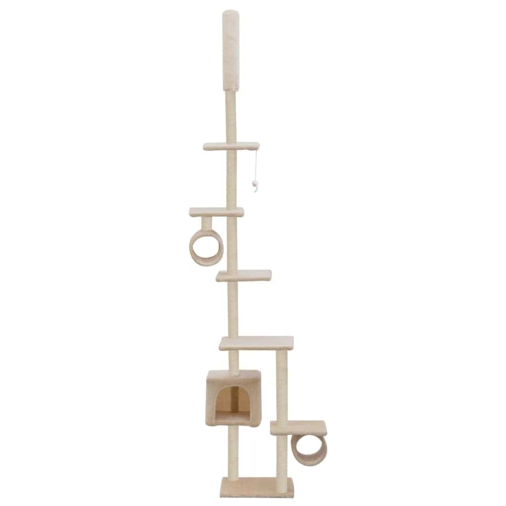 Cat Tree with Sisal Scratching Posts 260 cm Beige Fun Play Center Everyday Pets