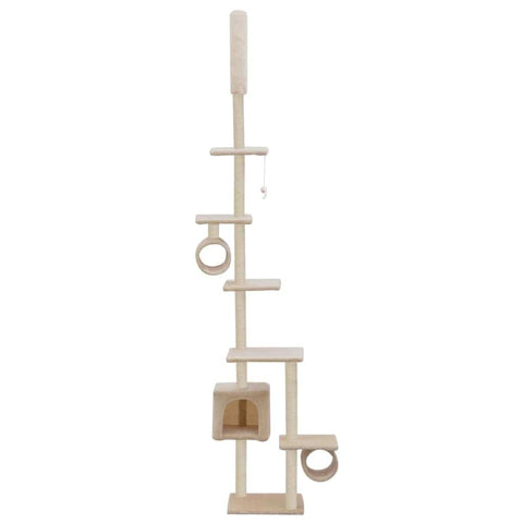 Image of Cat Tree with Sisal Scratching Posts 260 cm Beige Fun Play Center Everyday Pets