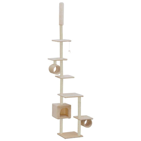 Image of Cat Tree with Sisal Scratching Posts 260 cm Beige Feature Packed Cat Tree Playhouse Everyday Pets