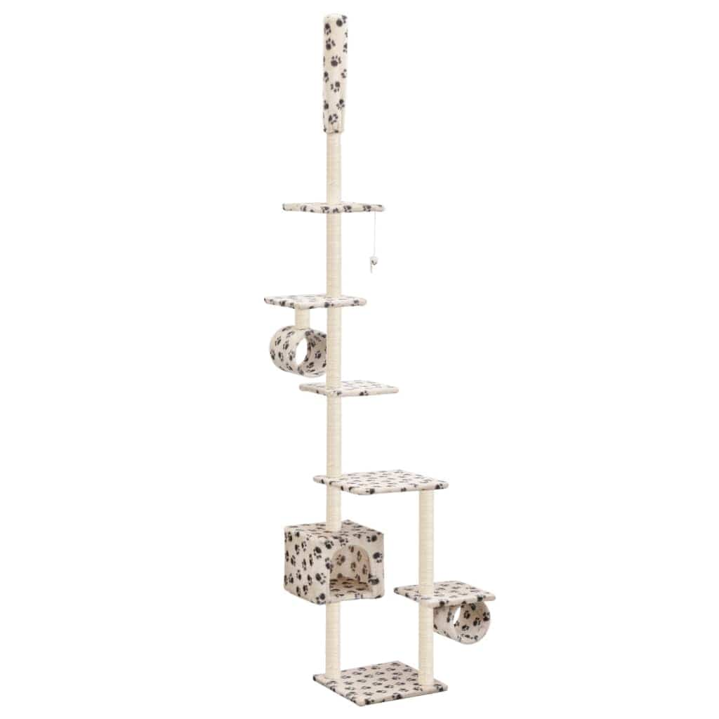 Cat Tree with Sisal Scratching Posts 260 cm Beige with Paw Prints Everyday Pets