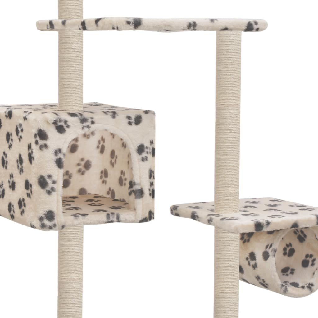 Cat Tree with Sisal Scratching Posts 260 cm Beige with Paw Prints Cosy House for Naps Everyday Pets