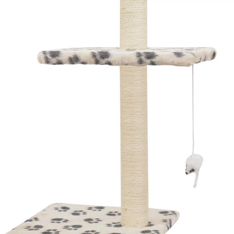 Image of Cat Tree with Sisal Scratching Posts 260 cm Beige with Paw Prints Dangling Toy for Playtime Everyday Pets