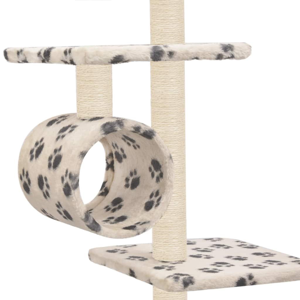 Cat Tree with Sisal Scratching Posts 260 cm Beige with Paw Prints Tunnels to Hide and Play Everyday Pets